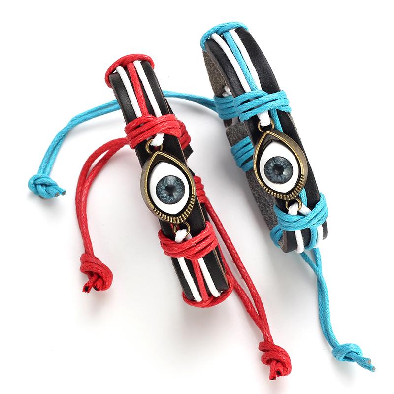 Lucky OEM Leather Evil Eye Bracelet For Men Women фото