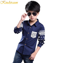 Kindstraum Boys Shirt 2016 NEW Spring Hot Selling Soft Fashion Children Clothing Print Navy style Long