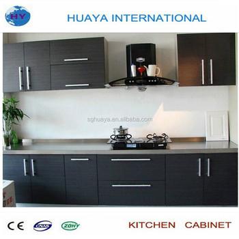 cheap melamine modern black kitchen cabinet manufacturer in china