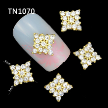 10 Pcs Glitter Gold Square 3D Full Rhinestones For Nail Art Decorations On Gel Polish DIY