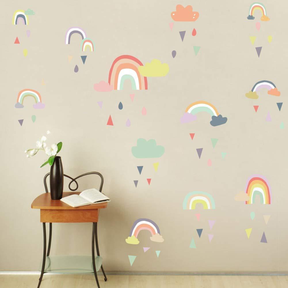 Colorful Rain Rainbows Wall Decal, Raindrop Wall Sticker, Rainbow Wall Sticker for Kids Room Decor, DIY Mural Art Home Decoration