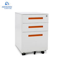 hot sale cheap 3 drawer mobile pedestal metal file storage cabinet with wheels