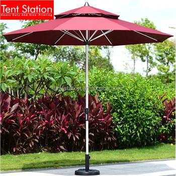 Double Layer Red Canopy Sun Garden Parasol Umbrella Parts