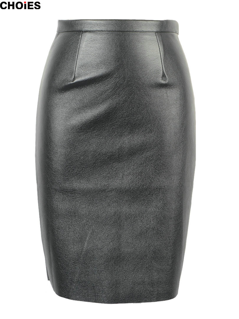 CHOIES Women Black Faux Leather Split Zipper Back High Waist Mini Pencil Skirt In Stock 2015