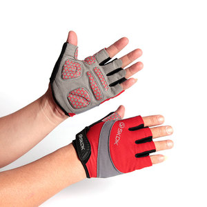 red color half finger sport gloves gym gloves