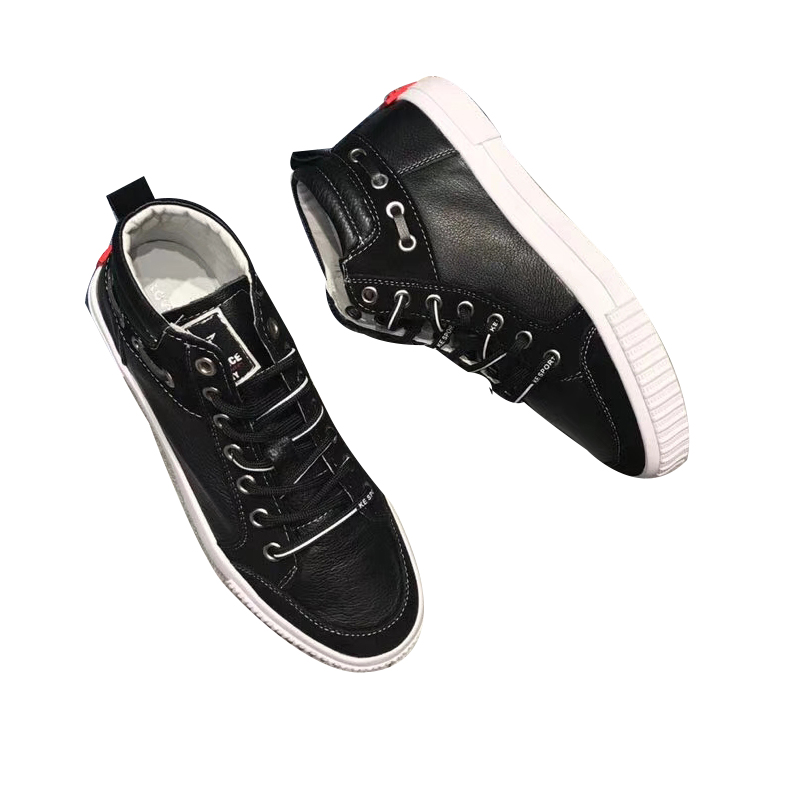 the white wild shoes Korean new version shoes High layer top cowhide leather up lace of 0vaqOx