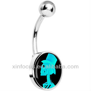 Turquoise Top Hat Skeleton Cameo Belly Ring ear gauge ear expander body piercing jewelry