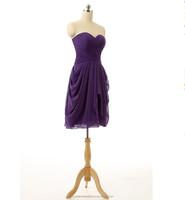 Wholesale Short Cheap Bridesmaid Dresses 2016 Chiffon Evening Dress with Pleats Women Prom Dresses LBL72