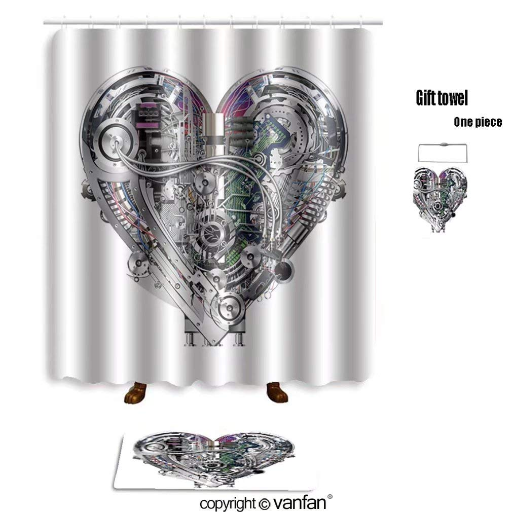 vanfan bath sets Polyester rugs shower curtain Heart_530764919 shower curtains sets bathroom 72 x 92 inches&31.5 x 19.7 inches(Free 1 towel 12 hooks)