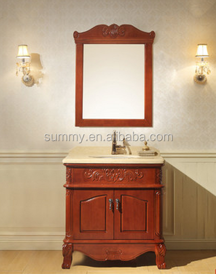 European antique solid wood bathroom floor cabinet vanity with marble top