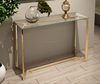 High Fashion Brass Gold Stainless Steel Tempered Glass Table Top Console Table