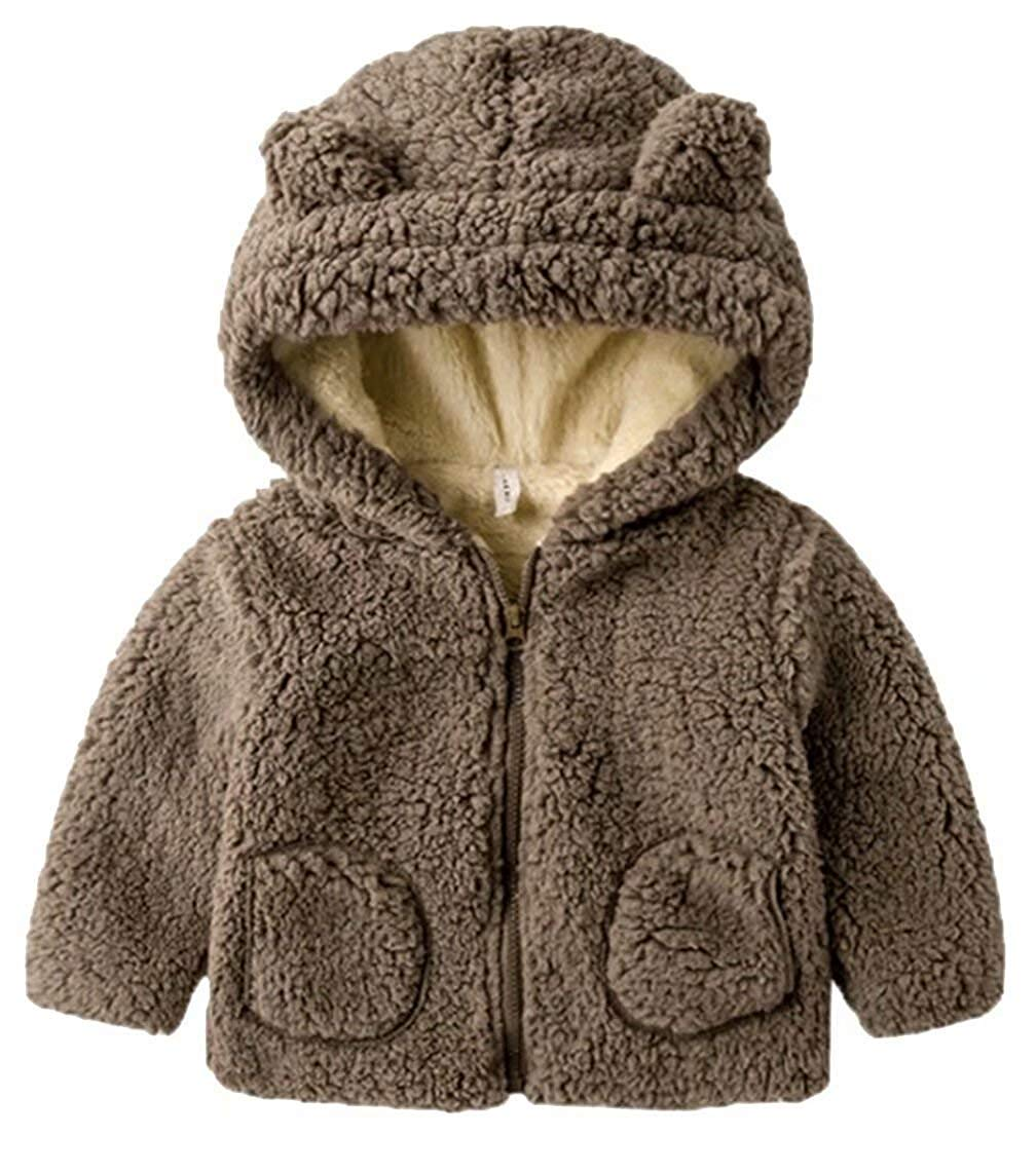 912c816fc Get Quotations · UNIQUEONE Toddler Baby Boys Girls Fur Hoodie Winter Warm  Coat Jacket Cute Bear Shape Thick Clothes