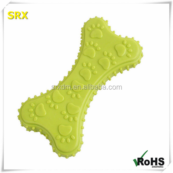 Smell good Non-toxic soft rubber bone shaped chew pet dog toy /CUSTOM non-toxic vinyl bone plastic rubber pet toy for chrismats
