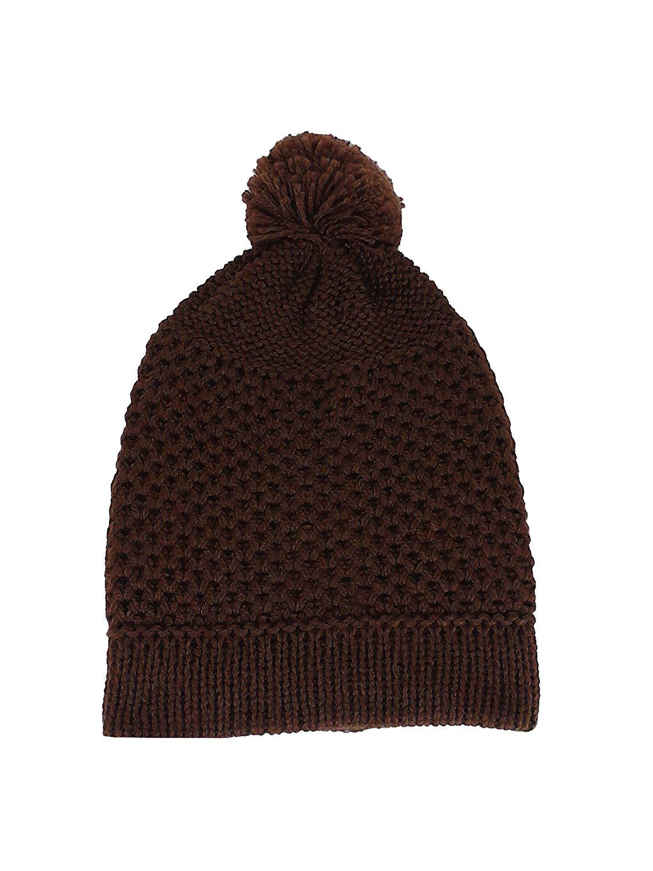 b756a3f4376 Get Quotations · TINKUY PERU 100% Alpaca Unisex Hand Knitted Skull Cap Hat  Pom Pom Brown Beanie