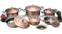 12pcs copper stainless steel crown cookware set cooking pot set