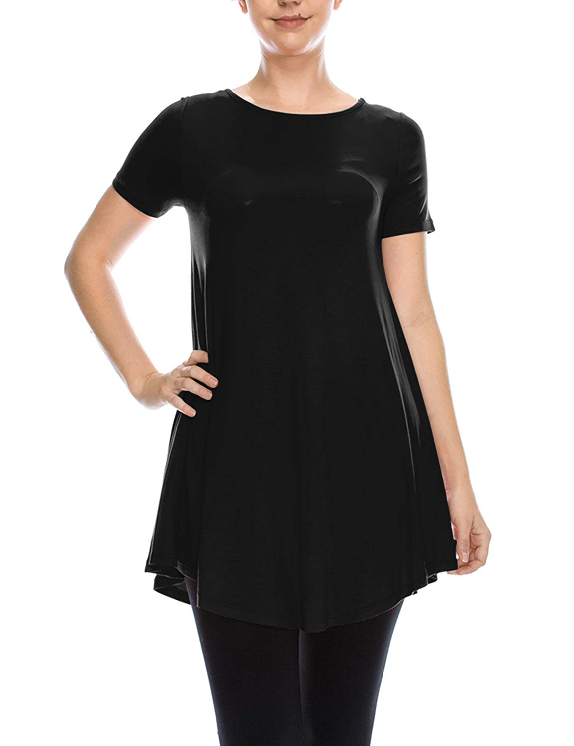 LY California LYCA Women's Short Sleeve Flare Tunic Made in USA