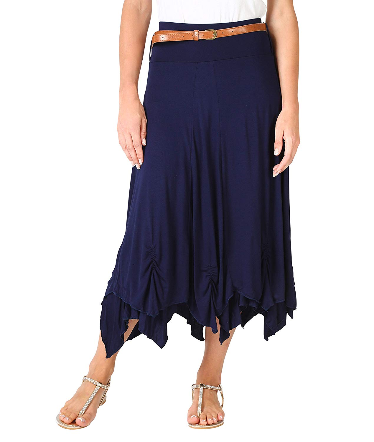 2709398ae9 Get Quotations · KRISP Womens Bohemian Gypsy Cotton Belted Elastic High  Waist Maxi Long Skirt Plus Size