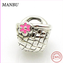 Mini Beauty Lady Purse Handbags Charm Silver Beads With Pink Enamel