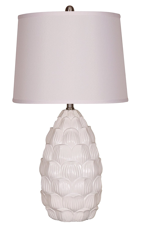Elegant Designs LT3215-WHT Resin Table Lamp with Fabric Shade, White Resin Table Lamp with Fabric Shade, White