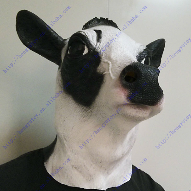 Top highest selling celebration latex Fancy Dress cow head mask for Oscar