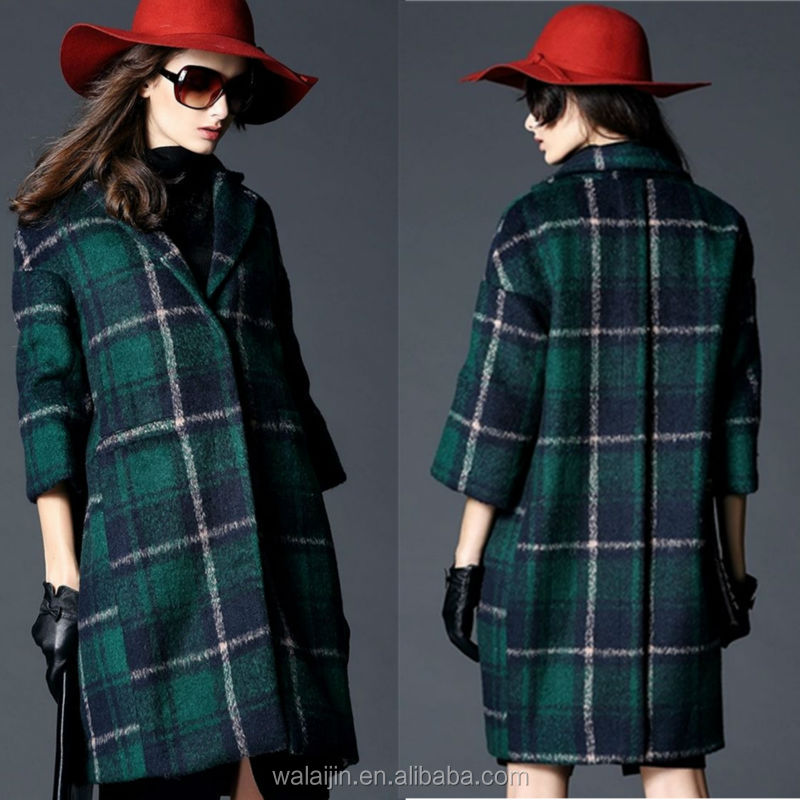 Three quarter sleeve invisible placket ladies woolen plaid coats supplier from China