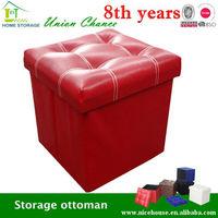 faux leather folding storage ottoman