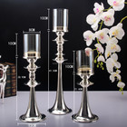 Silver Plated Fashion Metal Candle Holder with glass cover for home dining table decoration