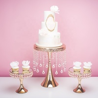 gold hanging crystal cake stand cupcake rack holder metal sets for wedding decoration/exhibion/party centerpiece/silver/dessert