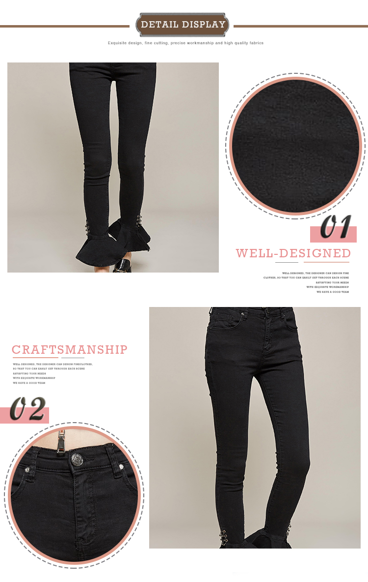 Factory Price Autumn Fashion Skinny Women Casual Black Jeans Pants