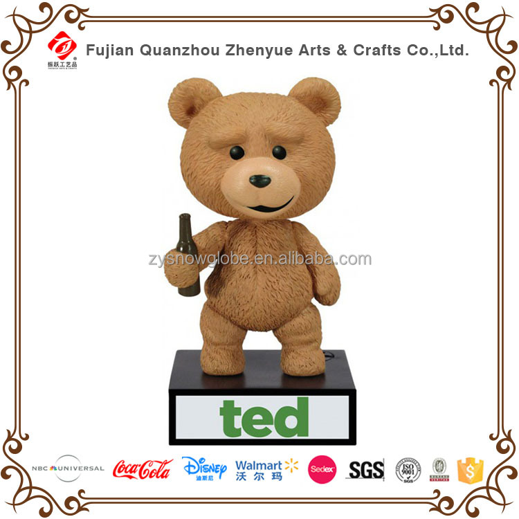 Promotional movie character teddy bear bobble head