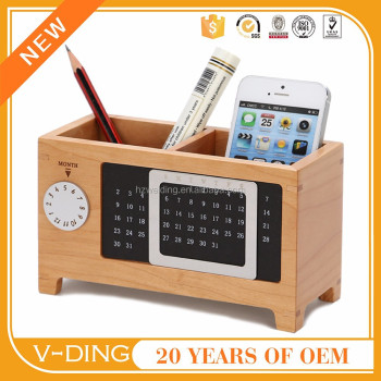 Vding New Products Wooden Pen Holder Pen Creative Office Supplies  Stationery Multifunction Wood Desk Accessories