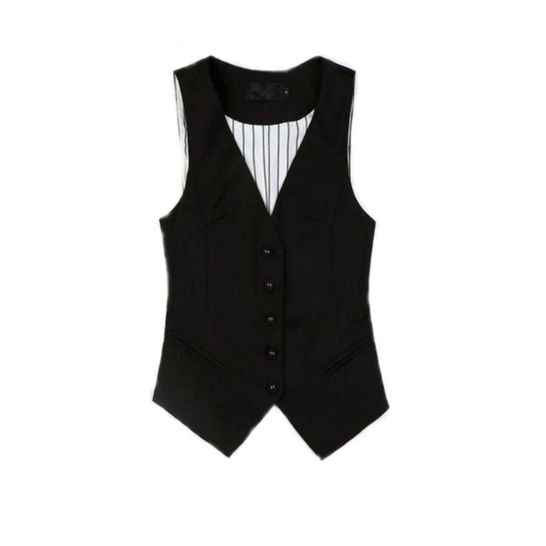 8fb23a1ab9a Get Quotations · Caseminsto Ladies Vest Tops Black Suit Vests V Neck  Waistcoat Women Working Vest Styles Formal Plus