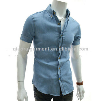 7916230f45 Men s Slim Fit Washed Cotton Denim Shirt - Buy Washed Denim Shirt ...