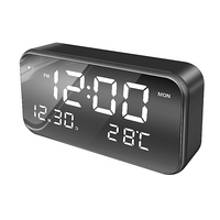 Shenzhen new led digital display desk table mirror alarm clock with temperature calendar date time and 3 groups alarm setting
