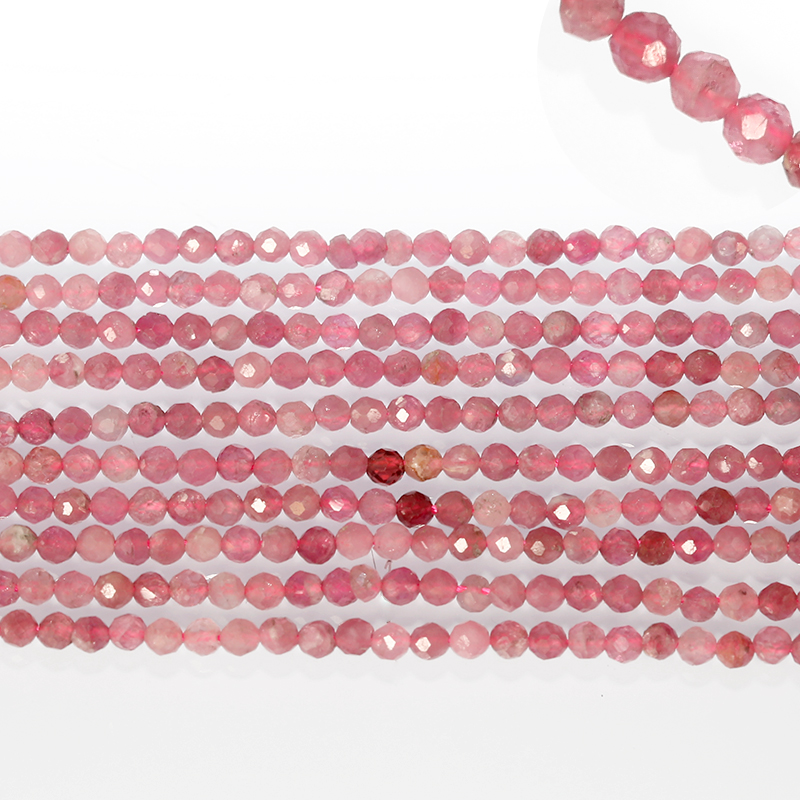 Faceted Stone Beads , Natural Pink Tourmaline Stone Beads