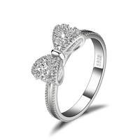JewelryPalace Bow Cubic Zirconia Anniversary Wedding Ring Silver 925