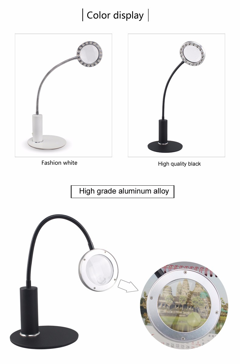 Dual Lens Flexible Gooseneck Tabletop Led 5X Reading Magnifying Lamp