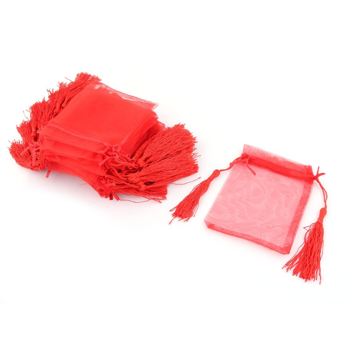 uxcell Organza Tassels Decor Candy Jewelry Pouch Wedding Gift Bag 10 x 13cm 25 Pcs Red