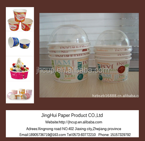 8oz 10oz Custom Printed Disposable Yogurt ice cream paper cup paper bowl with lid and plastic ice cream