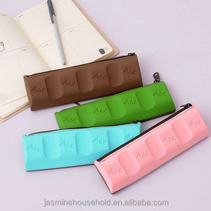 Best Selling School office Silicone pen /pencil Cases/bags in Chocolate Bar Shape