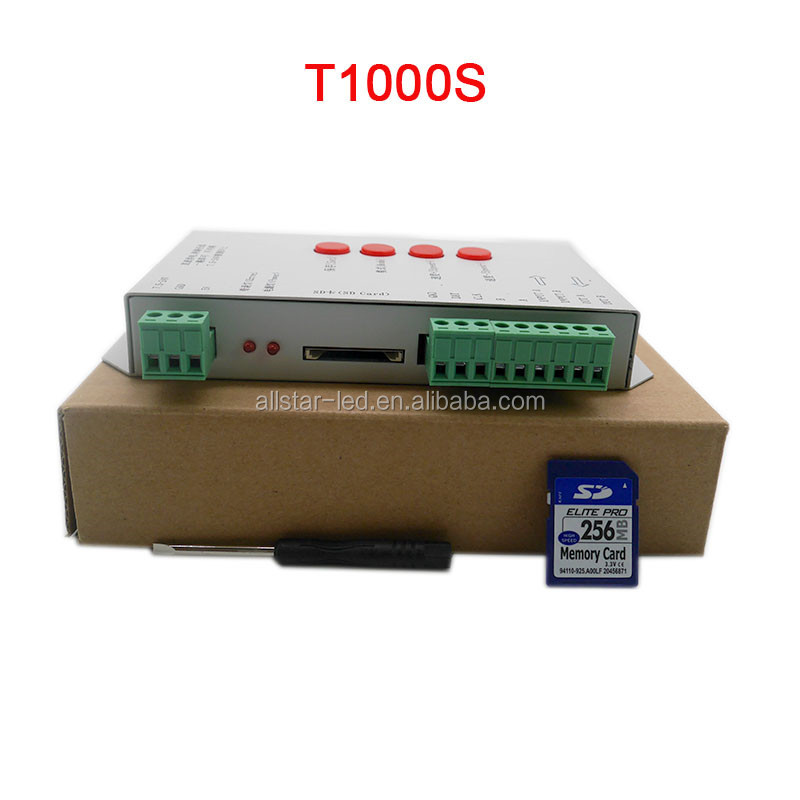 LED RGB Controller T1000S Kartu SD Piksel Controller untuk WS2801 WS2811 WS2812B LPD6803 LED 2048 DC5 ~ 24 V