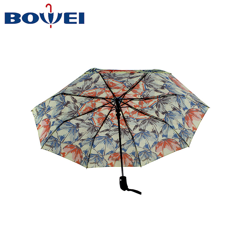 2020 Fashion design 3 folding auto windproof umbrella outdoor for women