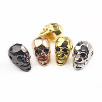 CZ6831 Hot sale CZ Micro Pave Silver Faceted Skull Beads,Men's Bracelet Supplies,Men's Jewelry Accessory