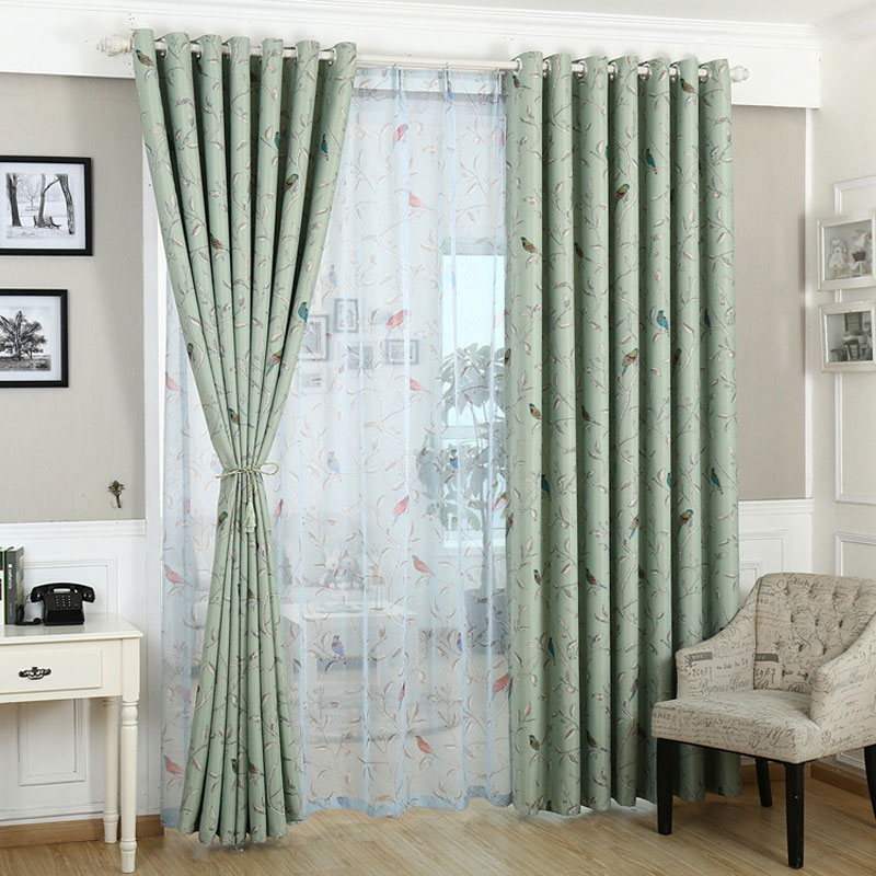 Curtains for bedroom Blue Green pattern Blackout Window ...