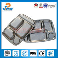 5 compartment stainless steel lunch tray, mess tray