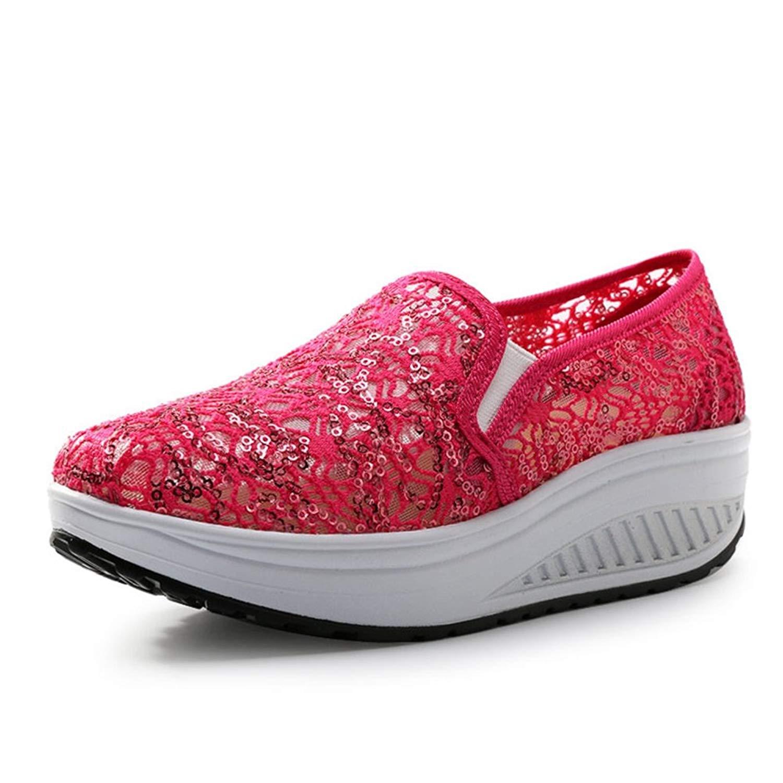 CYBLING Women's Mesh Platform Walking Shoes Lightweight Breathable Comfort Slip-on Fitness Sneaker