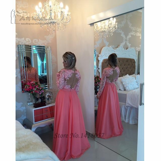 744b3eac52b57 Formal Coral Royal Blue Long Sleeve Lace Muslim Evening Dress Kaftan Prom  Dresses 2016 Pearls Vestidos de Festa Longo