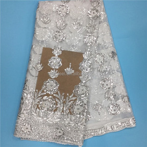 Latest New Arrival White African Embroidered Textile Sequins White Flower Lace Fabric Material For Wedding Dress