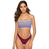 Feelingirl New Style Sexy Striped Bikini Two Piece Bandeau Thong Ladies Bathing Suits Swimsuit