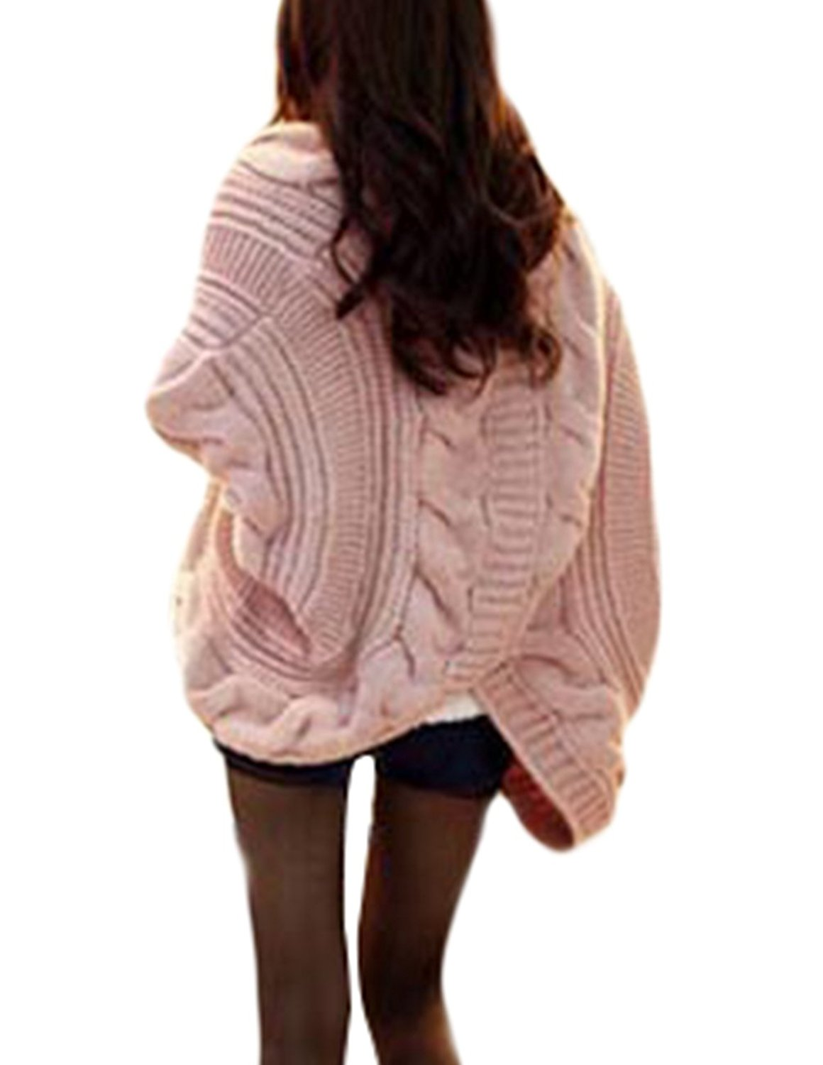 8fbe2357bb6 Get Quotations · Women s Cable Knitted Cardigans Batwing Sleeve Loose Plus  size Sweaters Open Front Knit Cardigans